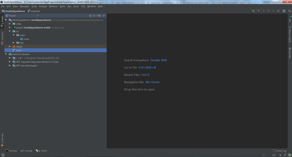 Setting up Spark with Scala development environment using